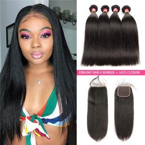 Straight Hair 4 Bundles With 4*4 Lace Closure Virgin Hair