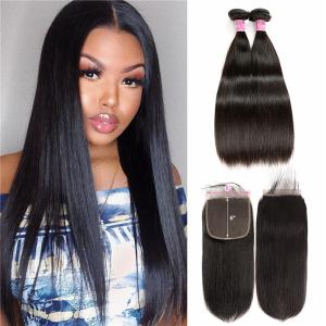 Straight Hair 6*6 Lace Closure With 2 Bundles Real Human Hair For Sale