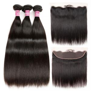 Straight Hair Brazilian Hair 3 Bundles With 13*4 Lace Frontal Closure