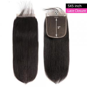 Straight Hair Lace Closure 5x5 Size Unprocessed Human Hair