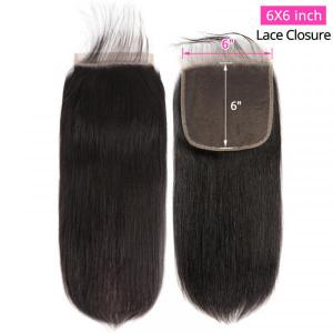 Straight Hair Lace Closure 6x6 Size Unprocessed Virgin Human Hair