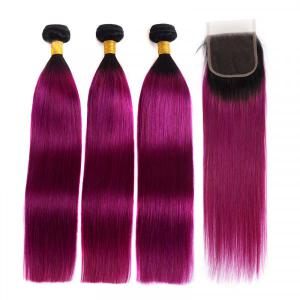 Straight Hair Weaves 1B/Purple 3 Bundles With Lace Closure Ombre Hair Color