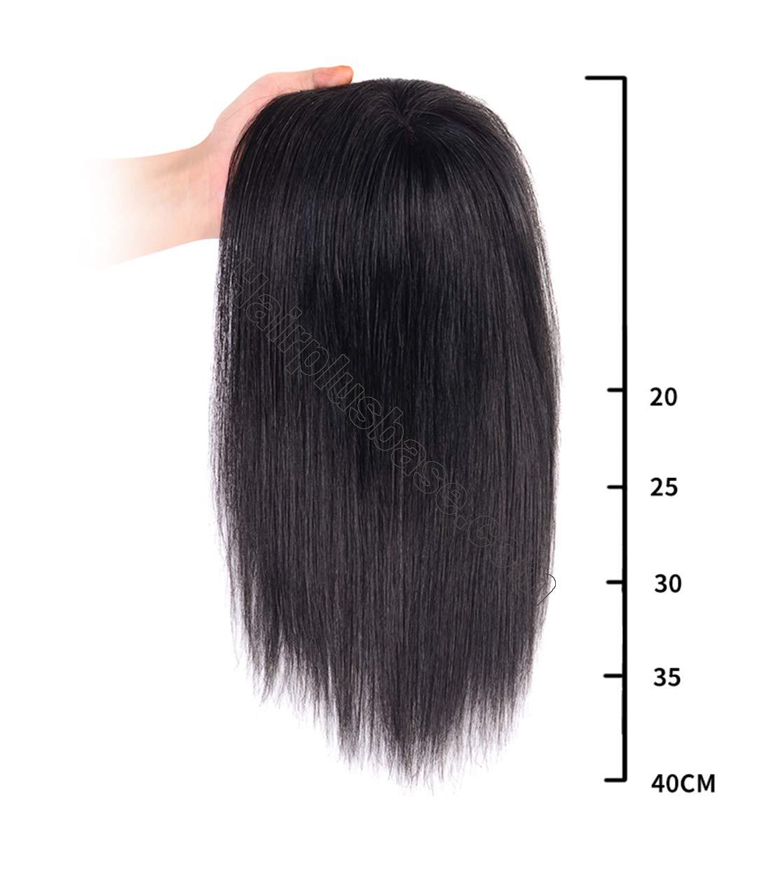 Straight Human Hair Crown Toppers for Women with Thinning Hair, Clips in Hand Tied Hair Topper with Bangs 2