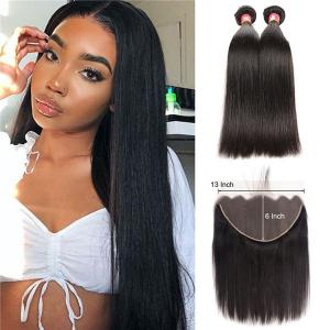 Straight Human Hair Weave Hairstyles With 13x6 Lace Frontal Closure