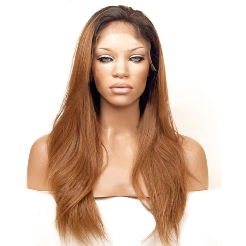 Straight Ombre Brown Front Lace Wig For Women 0