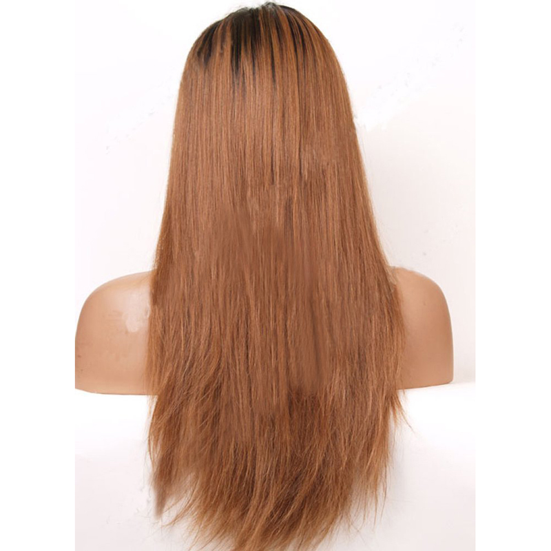 Straight Ombre Brown Front Lace Wig For Women 1