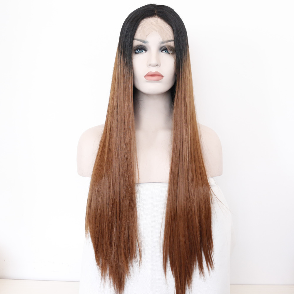 Straight Ombre Seamless Front Lace Synthetic Wig