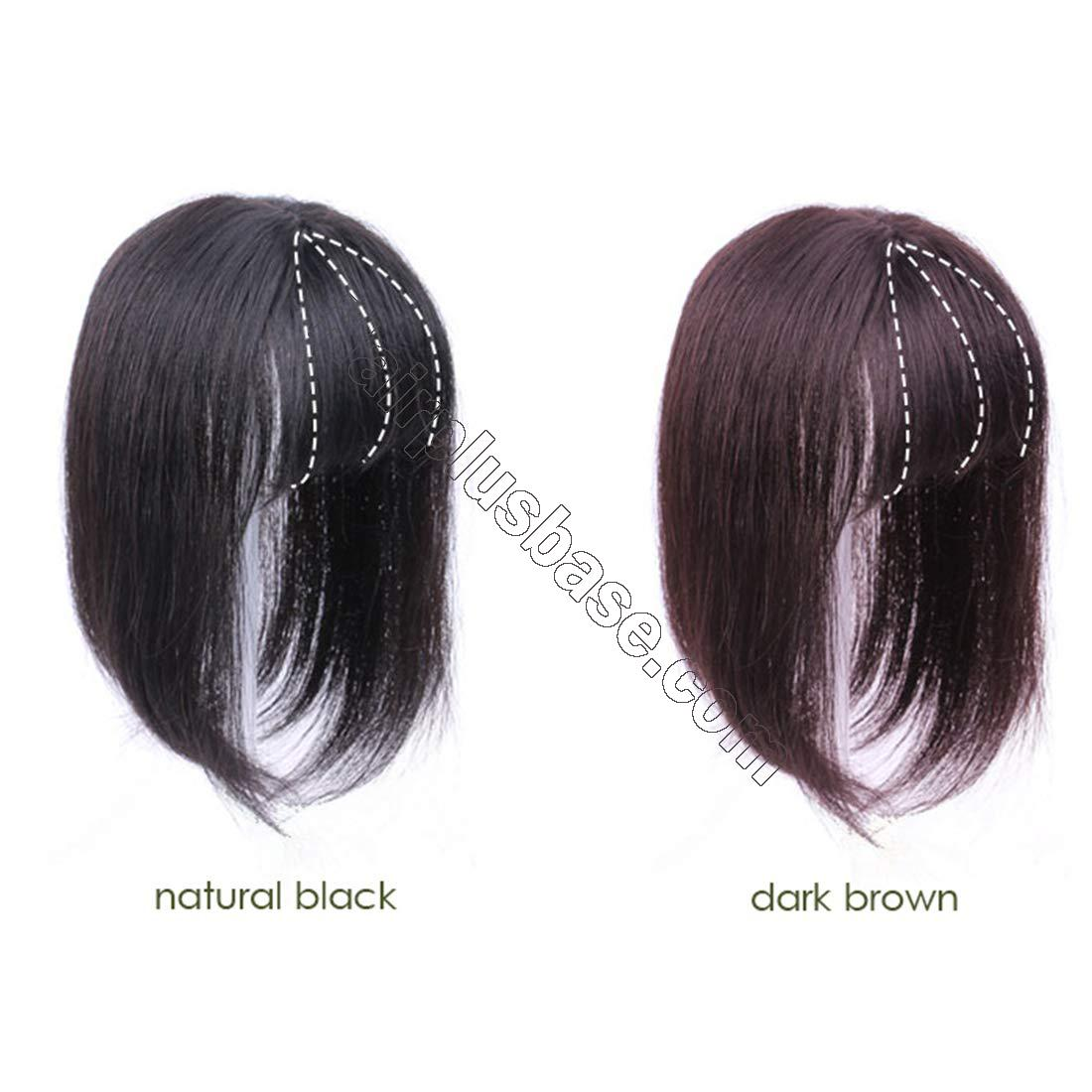 Straight Real Human Hair 3 Inch x 4 Inch Crown Topper Hairpiece with Bangs for Women with Thinning Hair 2