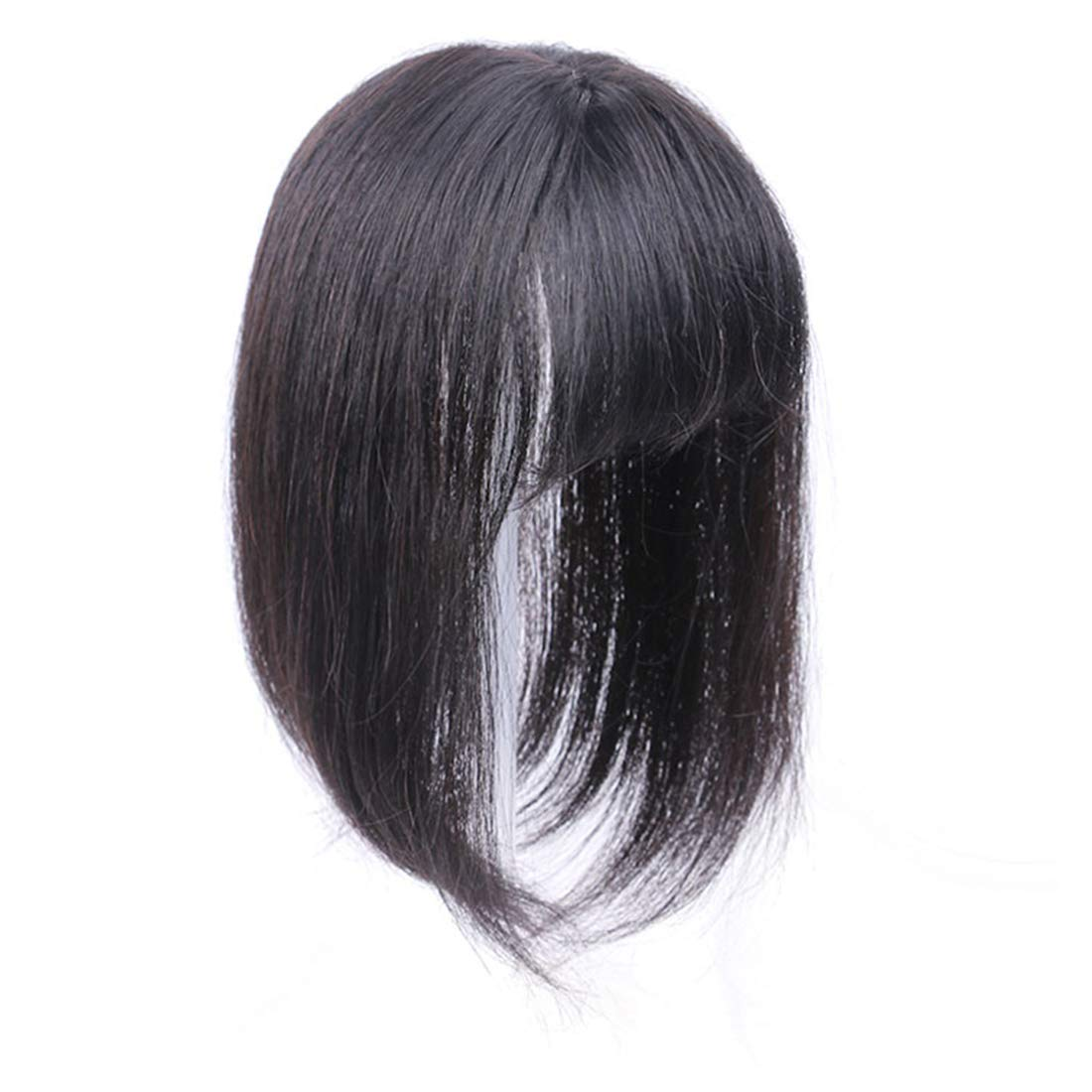 Straight Real Human Hair 3 Inch x 4 Inch Crown Topper Hairpiece with Bangs for Women with Thinning Hair 4
