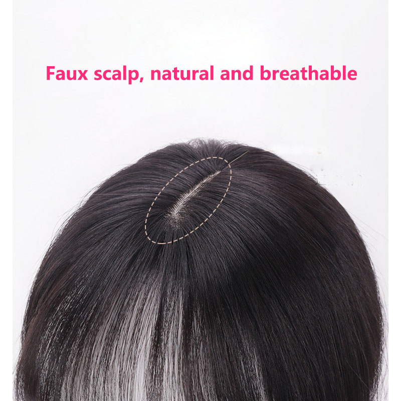 Straight Real Human Hair Crown Topper Hairpiece with Bangs for Women with Thinning Hair 2