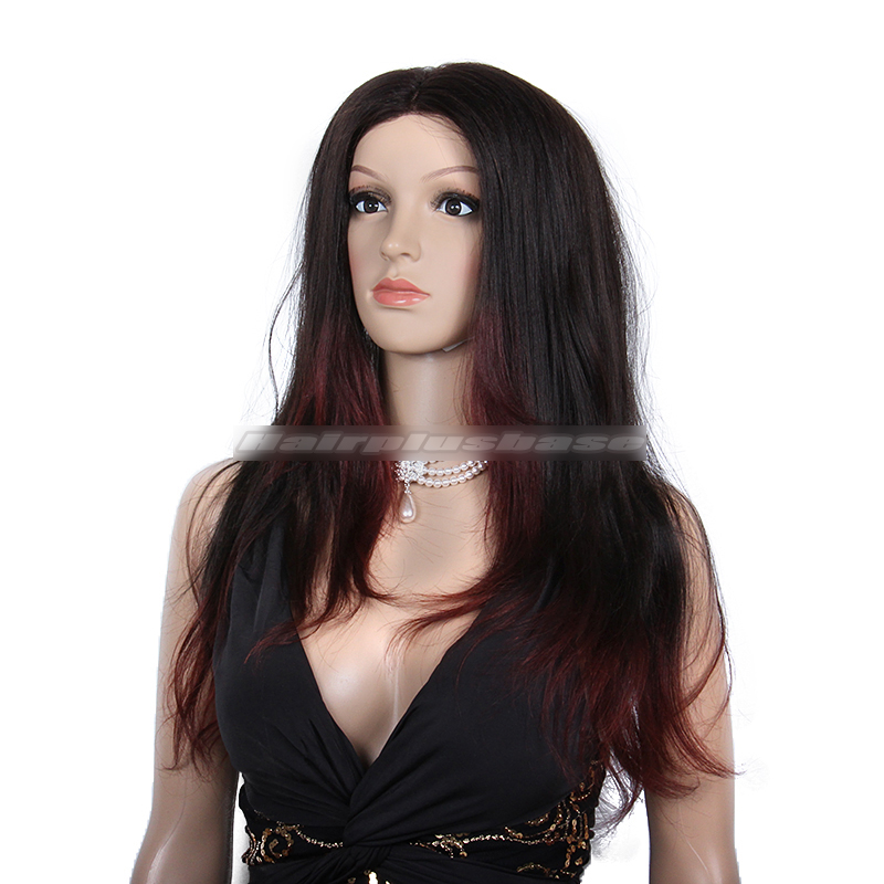Stunning Hairstyle Black Hair With Red Highlights Glueless Lace Front  Wigs