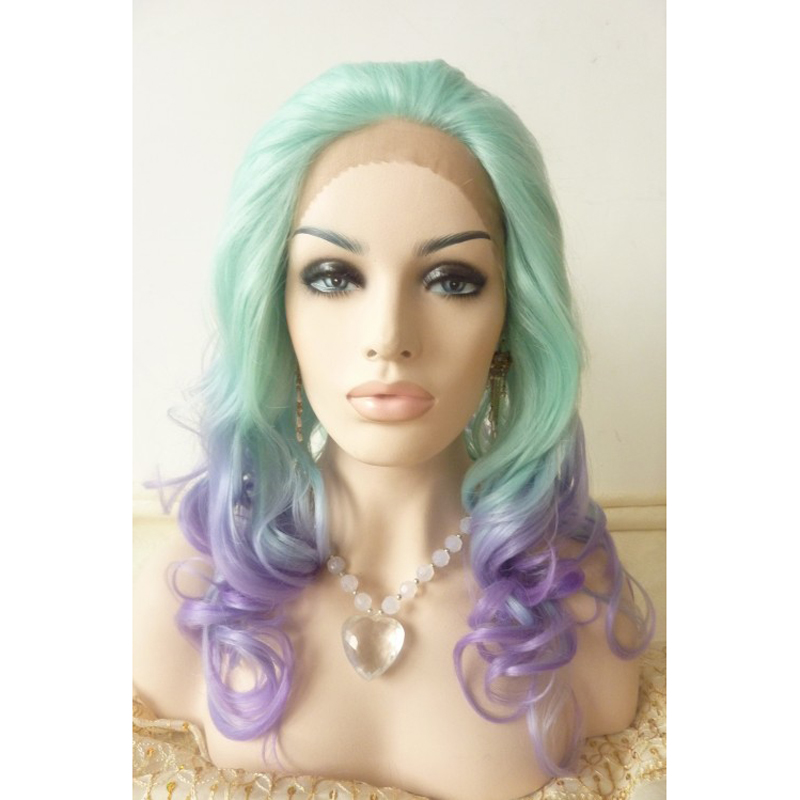 Stylish Body Wave Ombre Glueless Synthetic Lace Front Wig