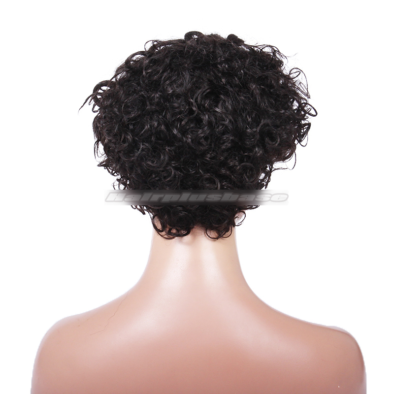 Summer Fashion Celebrity Short Bob Curly Black Human Hair Affordable Wigs