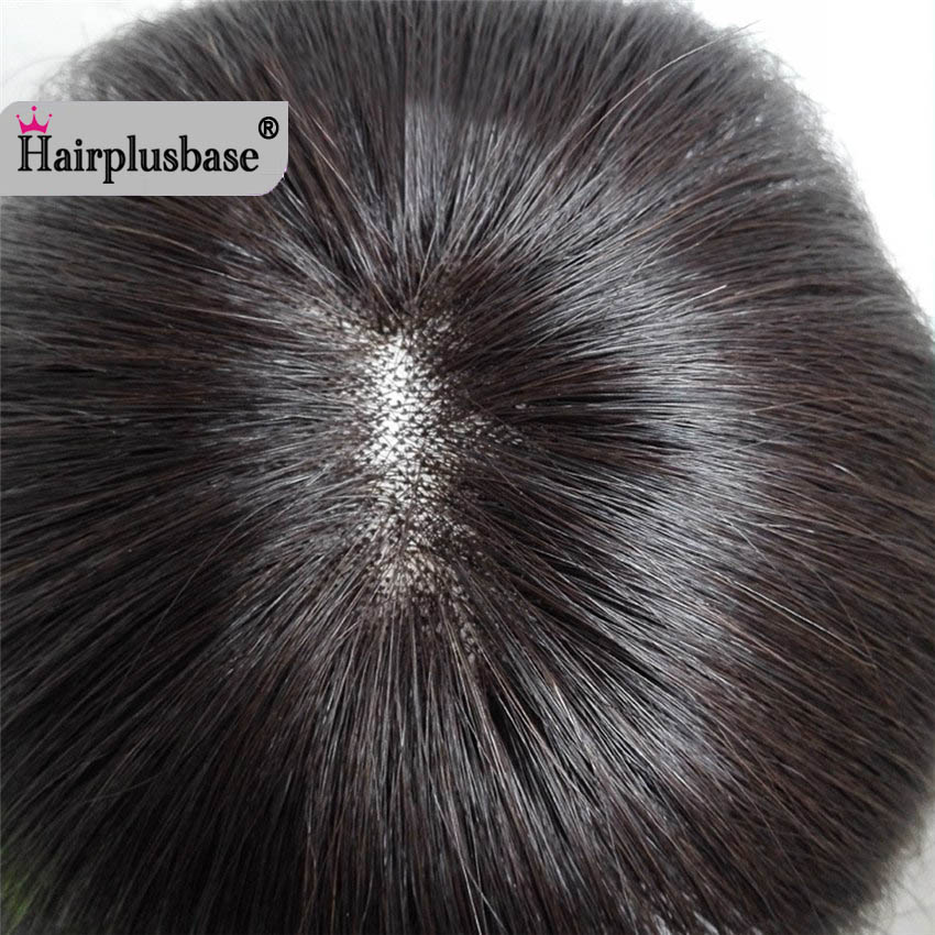 Swearing Hairpiece 100% Human Hair Top Hairpiece Covered With White Hair And Head Hair Scarce For Women And Man
