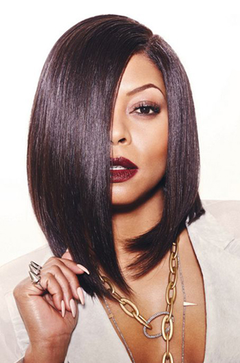 12 Inch Taraji Classic A Line Bob Deep Side Part 150% Density Human Hair Lace Wigs