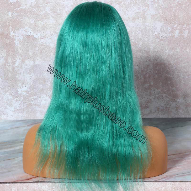 Teal Hair  Full Lace Wigs Natural Straight, 120% Density, Indian Remy Hair 1