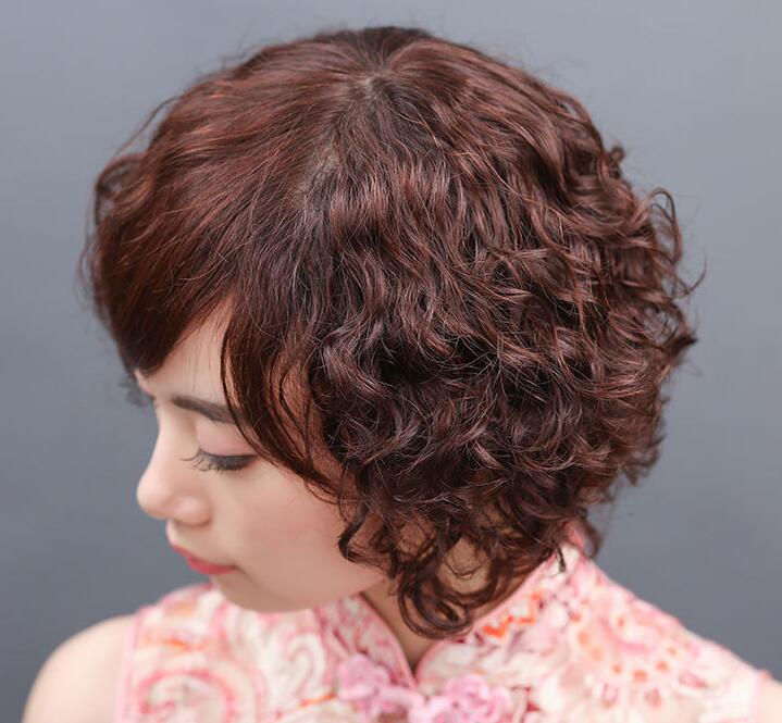 The New Short Hair In The Elderly Short Hair Curly Hair Top Hairpiece 100% Human Hair Wigs 5