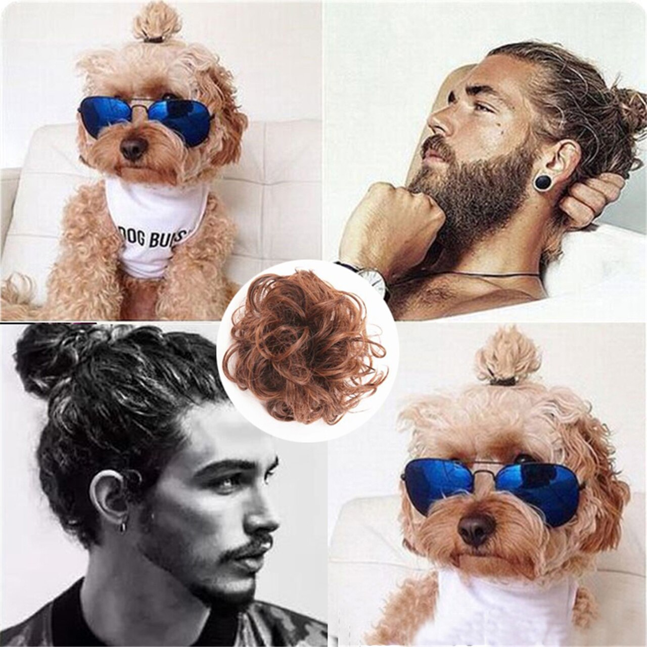 The Original Man Bun Instant Clip On Bun 100% Human Hair Extension