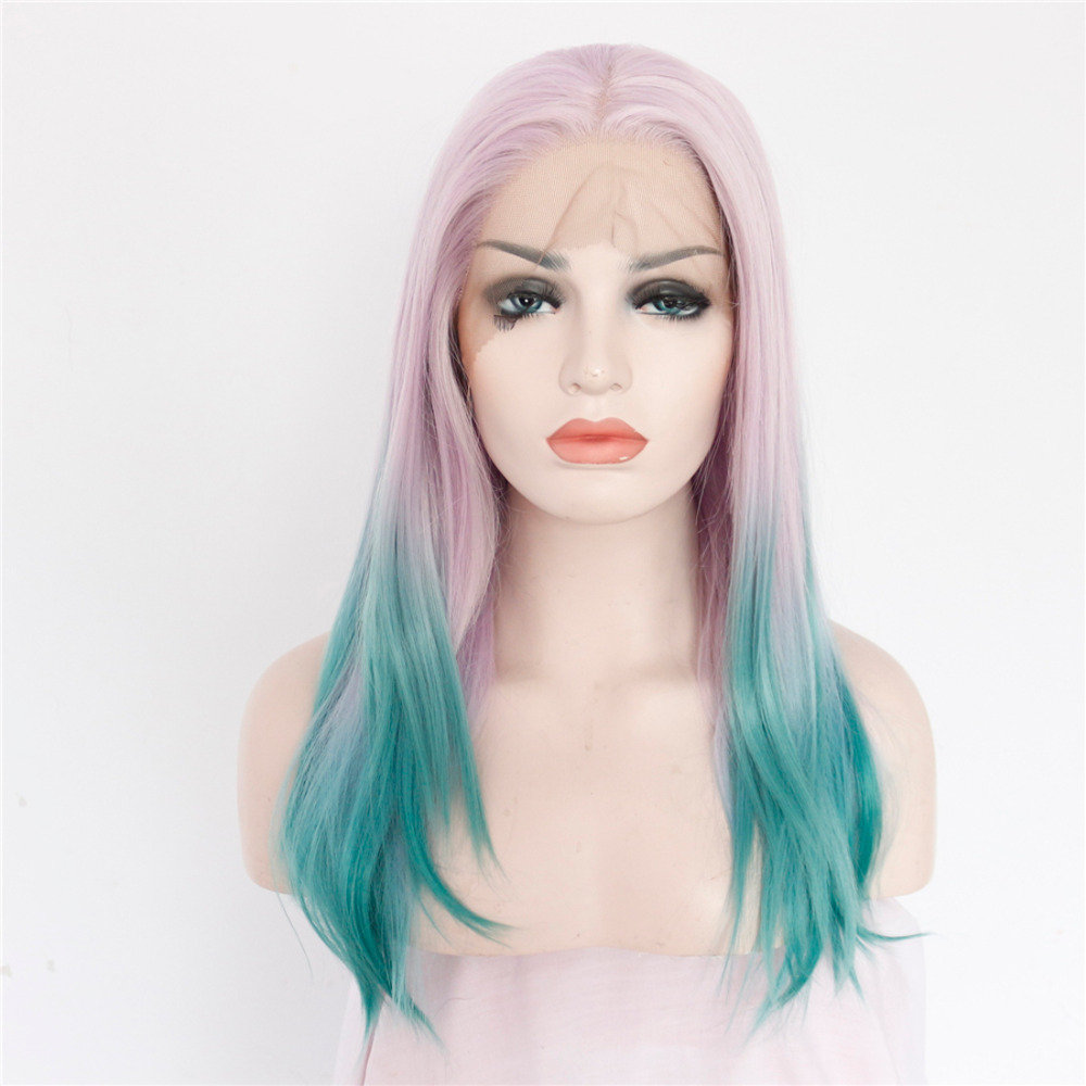The Sexy Pink With Blue Ombre Synthetic Lace Front Wigs