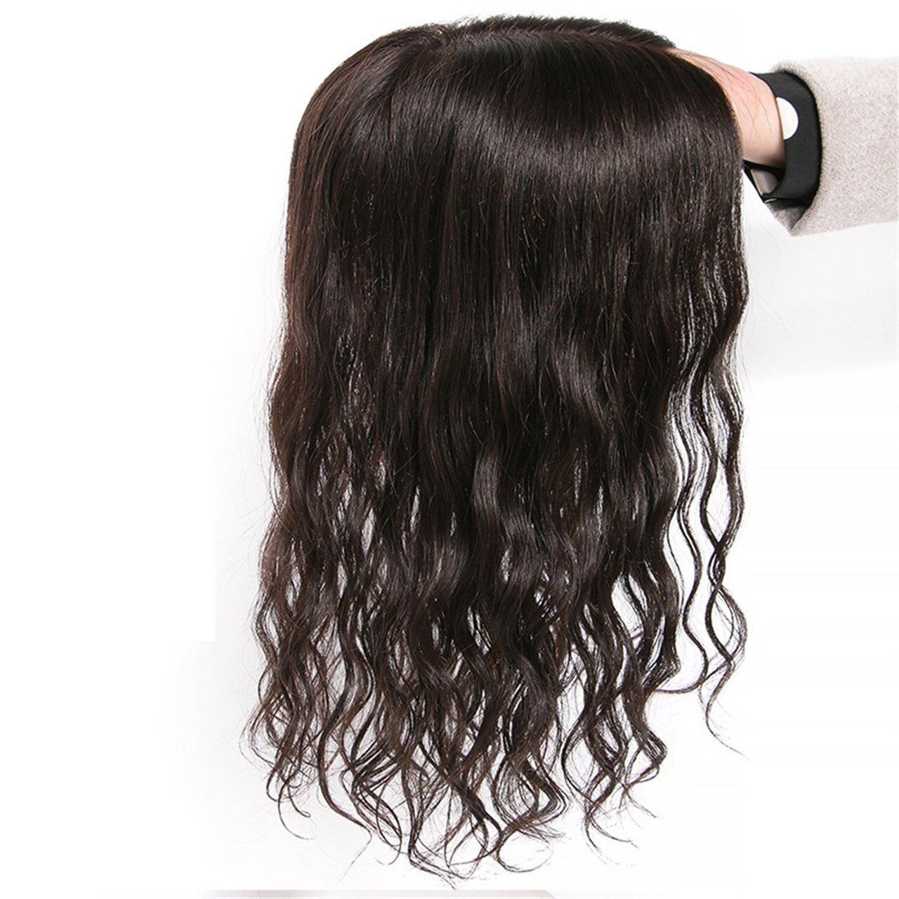 THICK 100% Remy Human Hair Curly Topper Hairpiece MONO Silk Base Hair Toupee 1