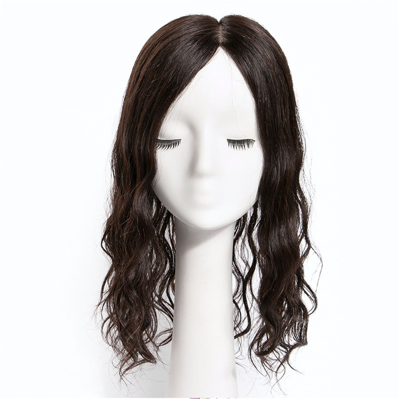 THICK 100% Remy Human Hair Curly Topper Hairpiece MONO Silk Base Hair Toupee 4