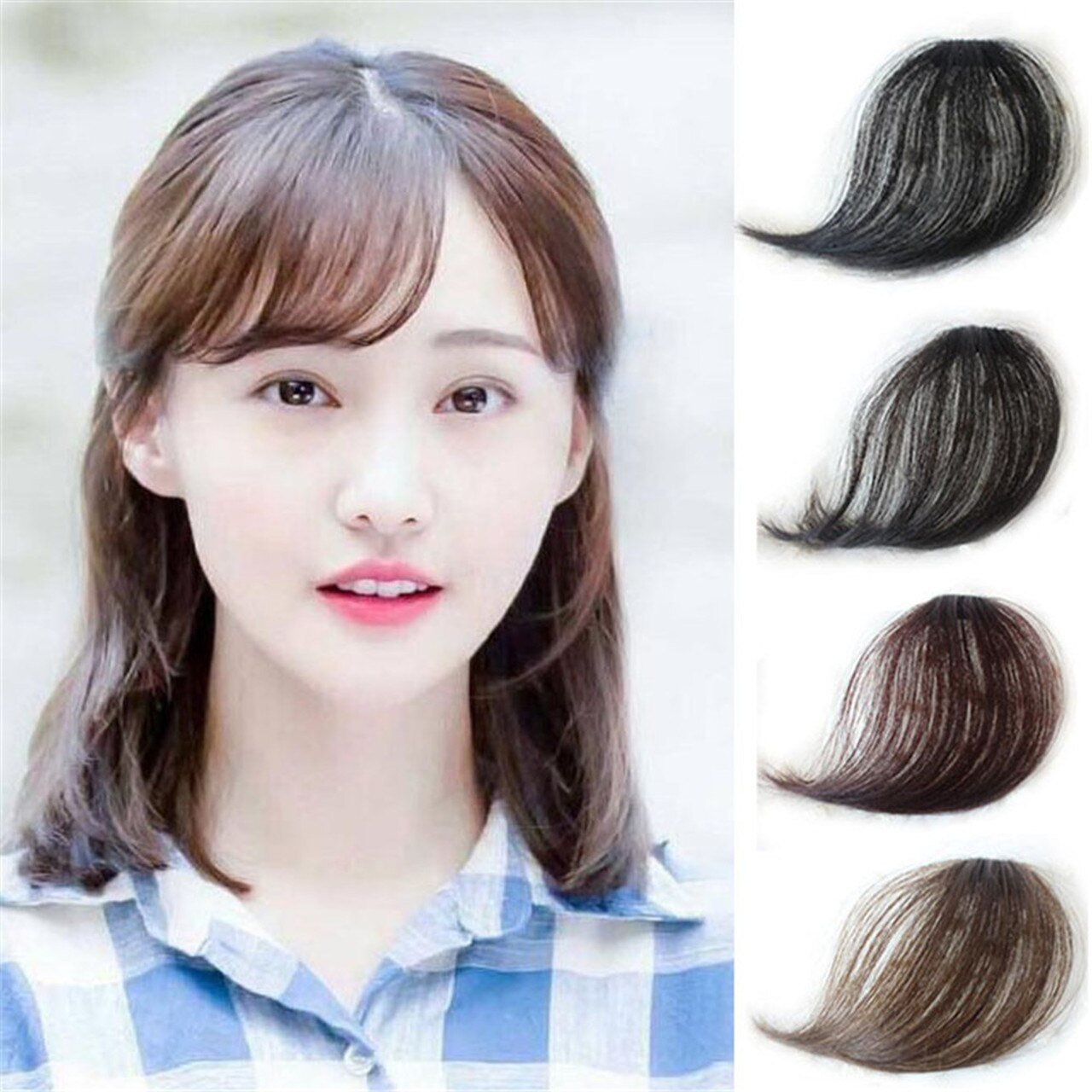 Thin Slant Air Bangs Hand Made Human Hair Extensions Clip In Hair Straight Bangs