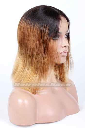 Indian Remy Hair Three Toned Ombre Middle Part Bob Yaki Straight Glueless Lace Part Wigs