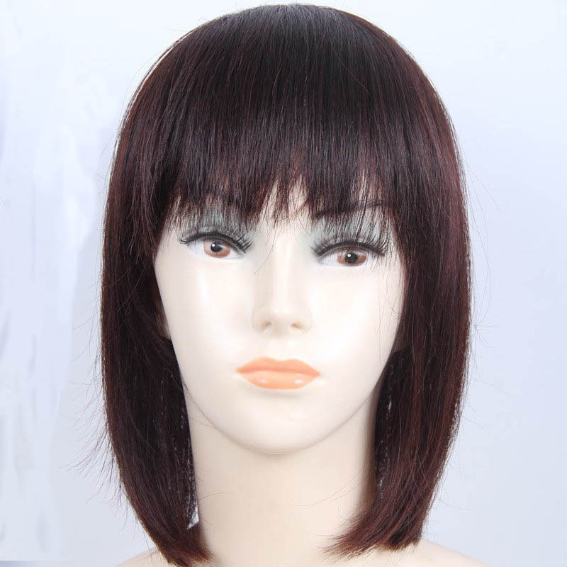 "Top Closure 13.7"" Hair Piece W/ Fringe Bang Short Straight For Hair Loss"