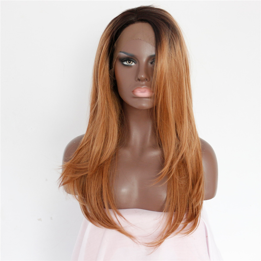 Two Tone Glueless Natural Straight Synthetic Lace Front Wigs