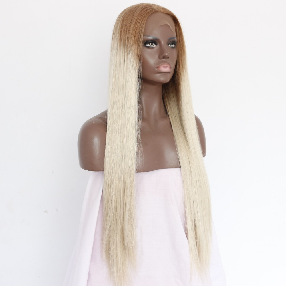 Two Tones Blonde Long Straight Ombre Lace Front Wigs