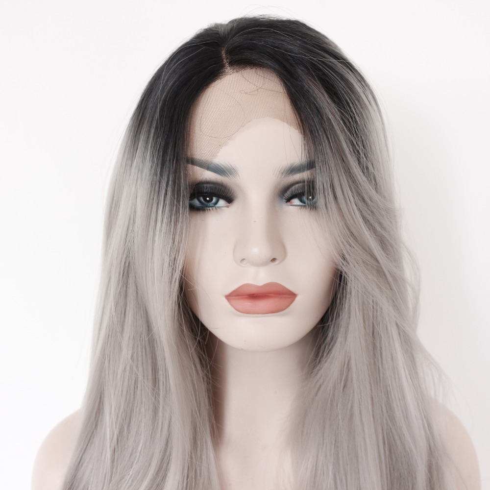 Two Tones Ombre Lace Front Wig with Black to Gray Gradient Heat Resistant Hair 3
