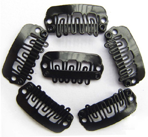 U-insection 2.4cm Black Steel Hair Extension Clips 20pcs