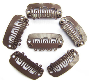 U-insection 2.4cm Brown Steel Hair Extension Clips 20pcs