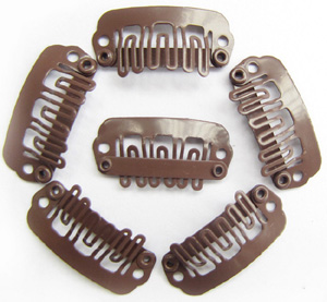 U-insection 2.4cm Light Brown Steel Hair Extension Clips 20pcs