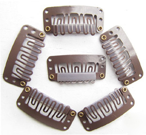 U-insection 3.2cm Brown Steel Hair Extension Clips 20pcs