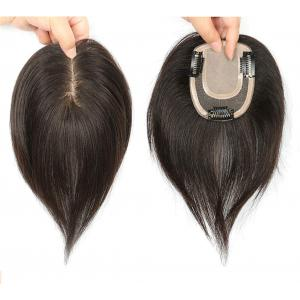 "Virgin Remy Human Hair Crown Topper for Women, 3"" x 5.5"" Clip in Silk Base Top Hair Pieces for Female Hair Loss"