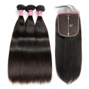 Virgin Straight Hair 3 Bundles With 5x5 inch Lace Closure Unprocessed Human Hair