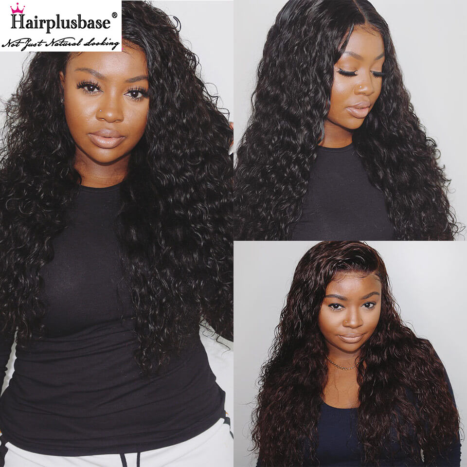 Water Wave 4*4 Lace Wigs 180% Density Made By Bundles With Closure 2