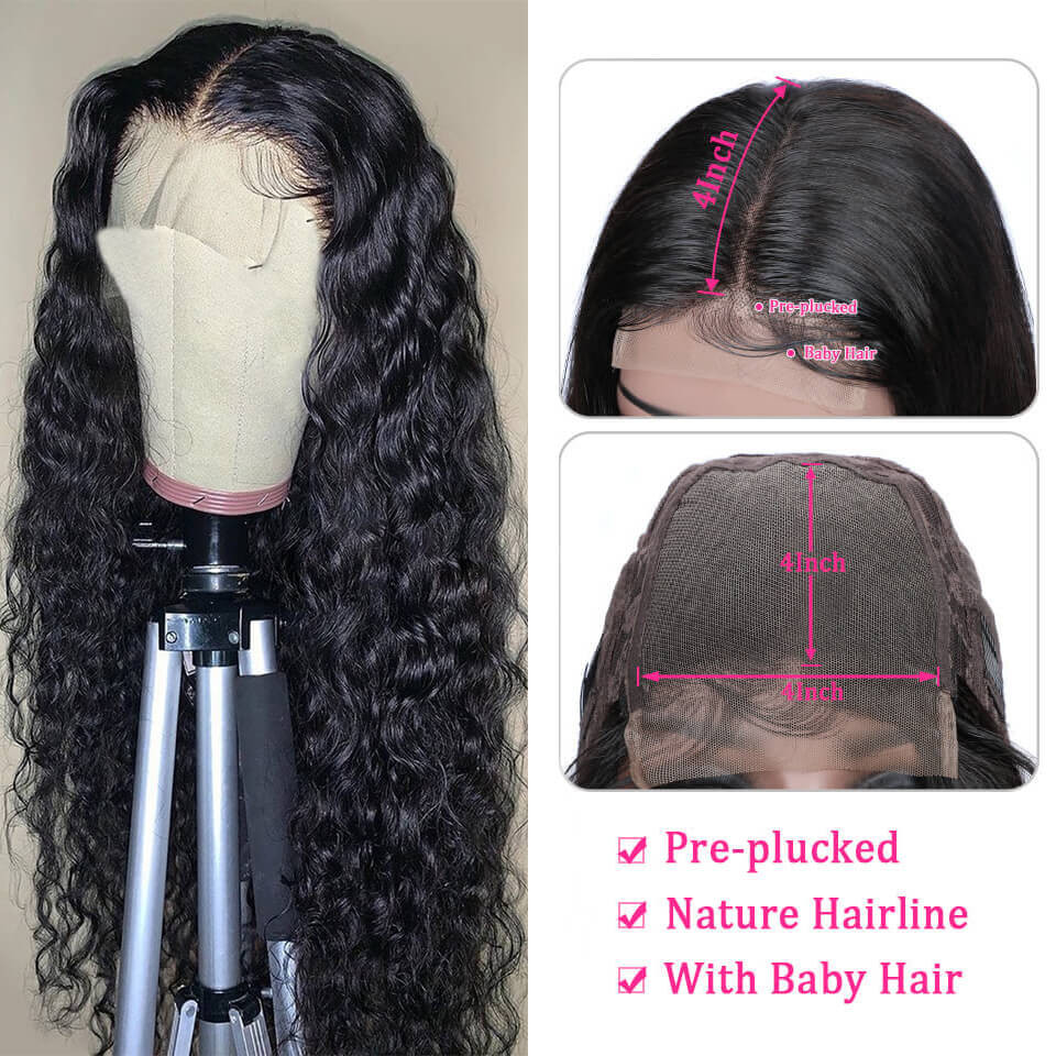 Water Wave 4*4 Lace Wigs 180% Density Made By Bundles With Closure 3