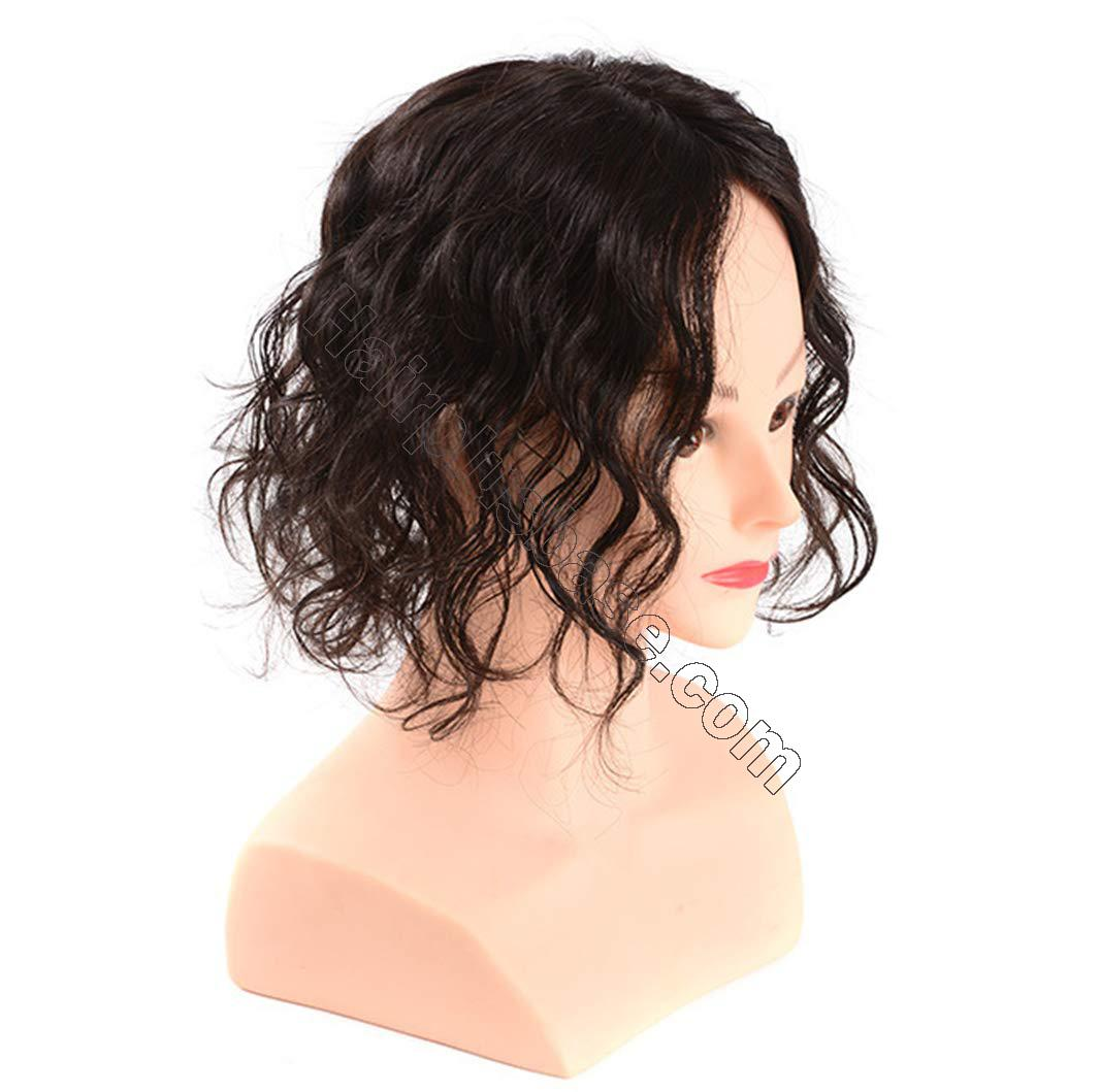 Wavy Curl Human Hair Wiglet Hairpieces for Thinning Hair, 9x14cm Silk Base Crown Wig Topper for Women 2