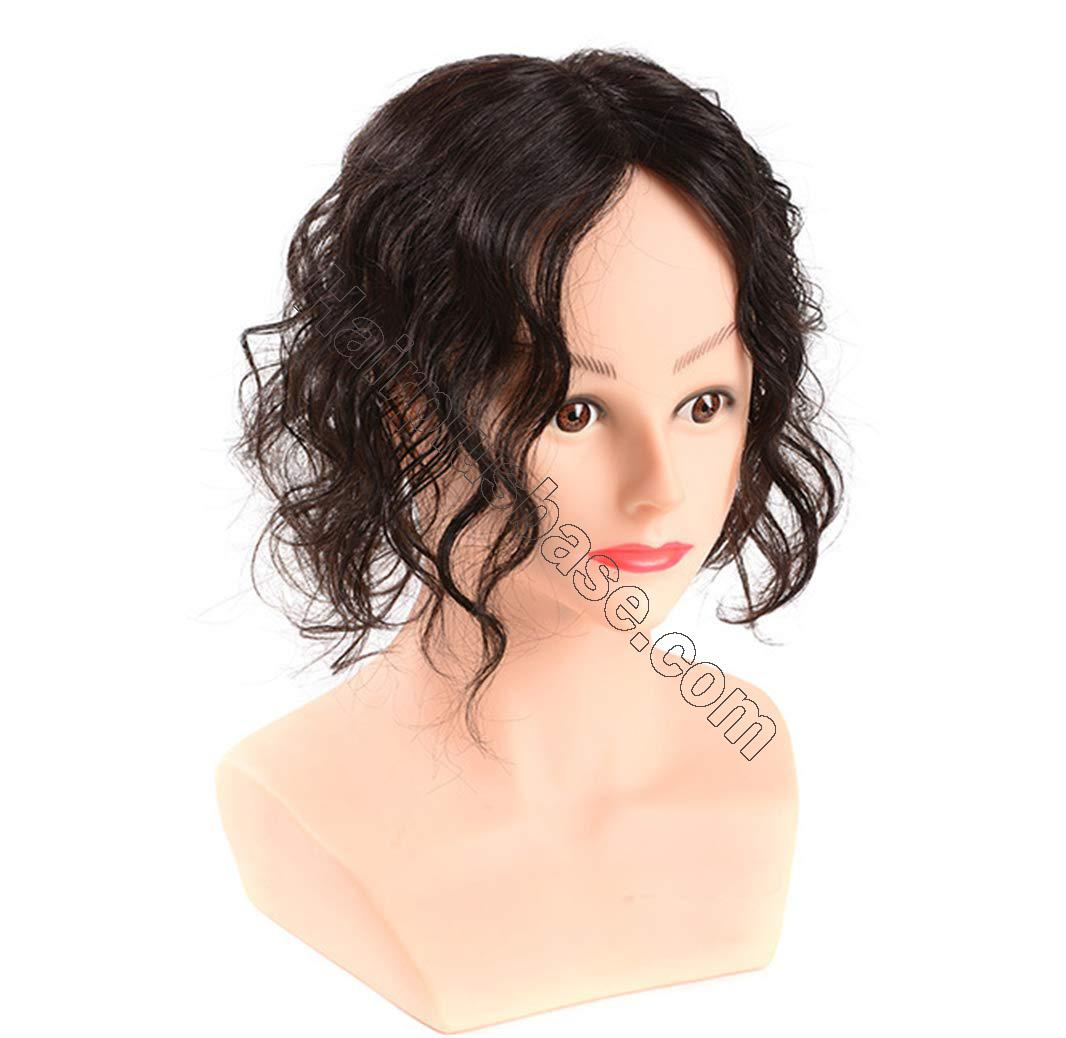 Wavy Curl Human Hair Wiglet Hairpieces for Thinning Hair, 9x14cm Silk Base Crown Wig Topper for Women 3
