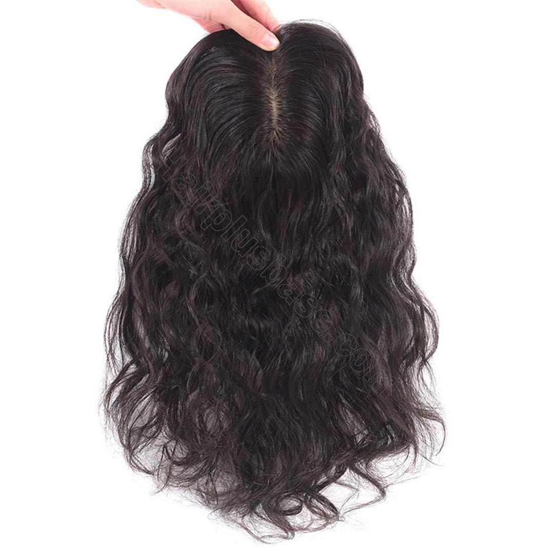 Wavy Curl Human Hair Wiglet Hairpieces for Thinning Hair, 9x14cm Silk Base Crown Wig Topper for Women 4