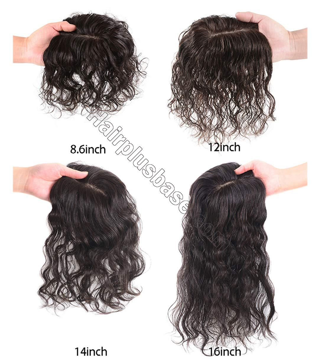 Wavy Curl Human Hair Wiglet Hairpieces for Thinning Hair, 9x14cm Silk Base Crown Wig Topper for Women 5