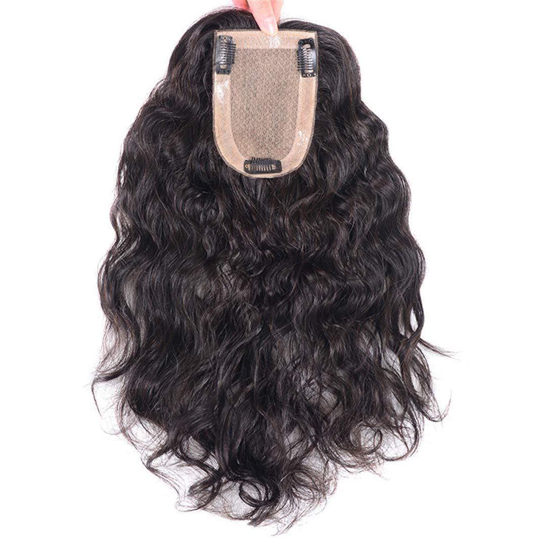 Wavy Curl Human Hair Wiglet Hairpieces for Thinning Hair, 9x14cm Silk Base Crown Wig Topper for Women 8