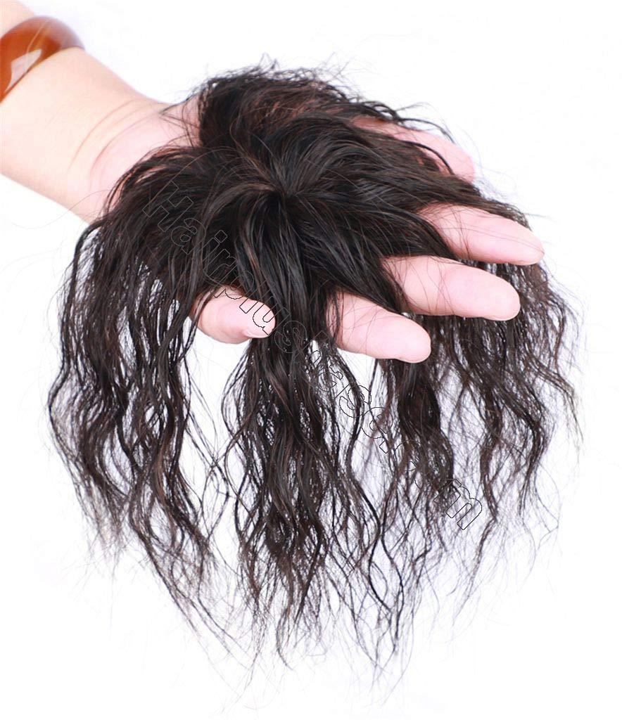 Womens Natural Curly Clips in Human Hair Topper for Bald Spot, Short Hairpieces for Grey Hair, 6 Inch 2