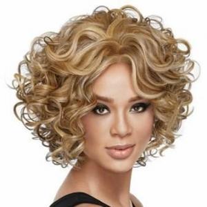 Wonderful Short Wavy Blonde African American Lace Wigs for Women