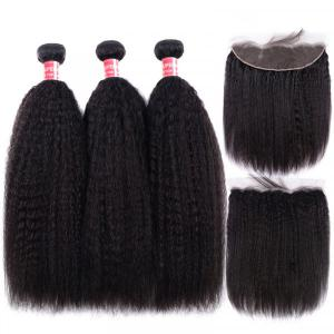 Yaki Straight Hair With Nice Curl 3 Weaves With 13x4 Lace Frontal Virgin Hair