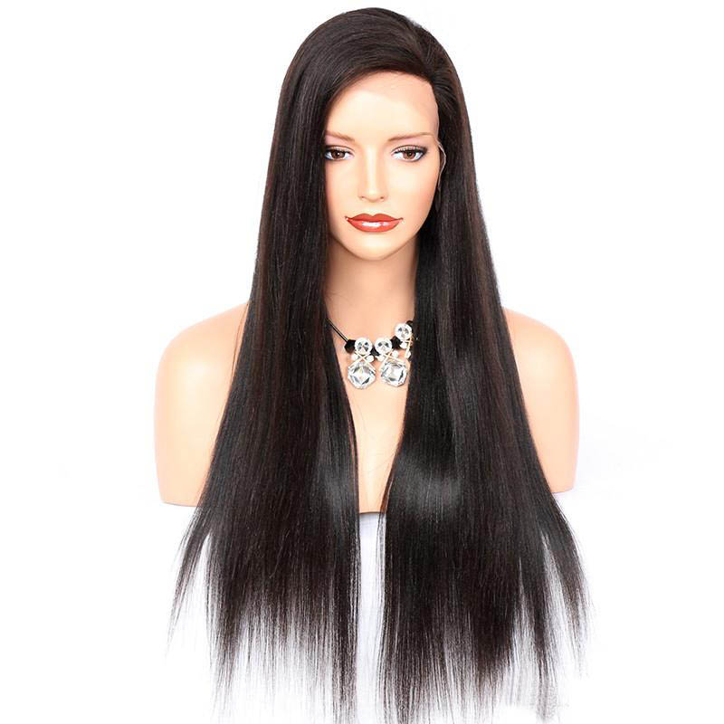Yaki Straight Lace Front Wigs Indian Remy Hair 4.5 Inch Deep Part Space