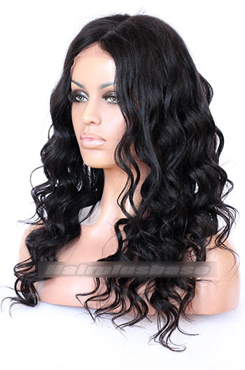 "Indian Remy Hair Yaki Wavy,4.5"" Super Deep Middle Part Lace Front Wigs"