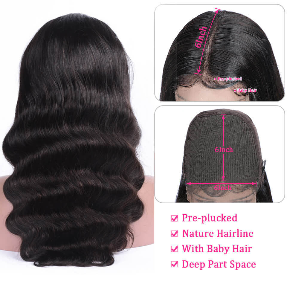 Yolissa Hair Body Wave 6*6 Lace Closure Wigs 180% 250% Density With Baby Hair 3